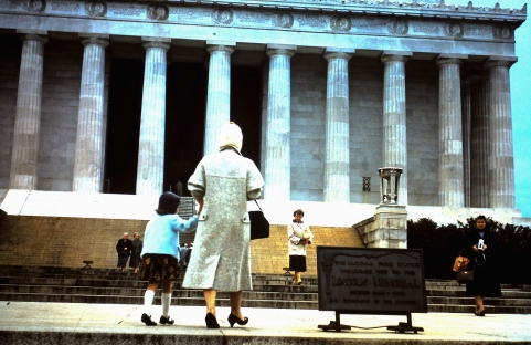 Mom and sister at the Lincoln Memorial