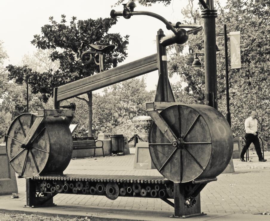 Bike sculpture near West Sacramento's River Walk