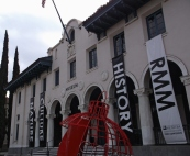 Banners in front of the Riverside Museum
