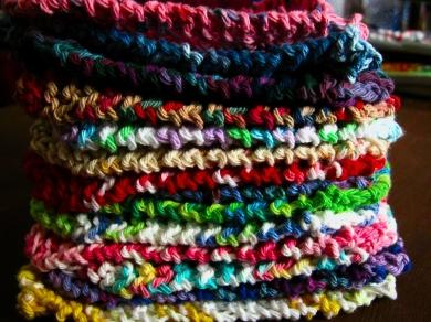 Hand knit cotton dish cloths