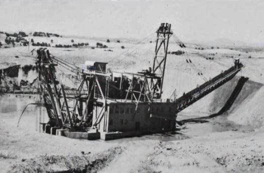 Gold dredger in operation