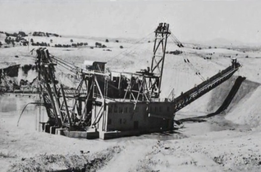 Gold dredger in operation